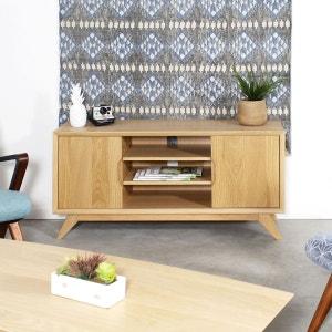 meuble tv bois massif pieds compas 2 portes 3 niches 1029 25 made - Meuble Tv Made In Design