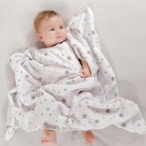 Couverture bébé polaire étoiles gris/vert 75 x 100 cm LES KINOUSSES