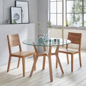 Table à manger ronde en bois de teck vitrée 4 couverts BOIS DESSUS BOIS DESSOUS