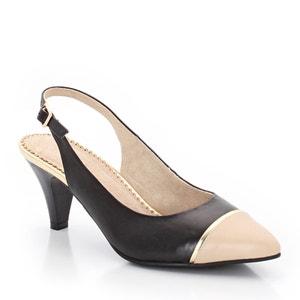 Zapatos abiertos, bicolor, con correa detrás, piel de vaqueta ANNE WEYBURN