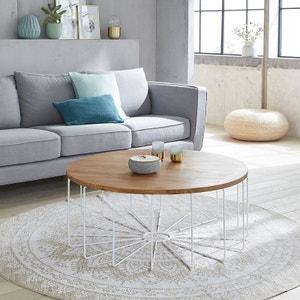 Table basse ronde en bois de teck et métal 100 cm BOIS DESSUS BOIS DESSOUS