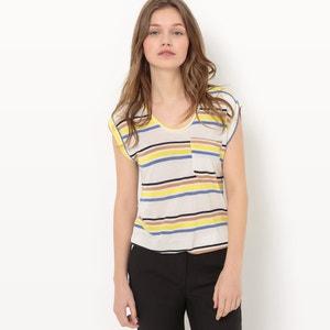T-shirt col rond rayé, viscose fluide R essentiel