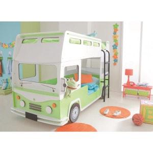 Lits Superposés Enfant 90x190/200 Bus Vert Clair TERRE DE NUIT