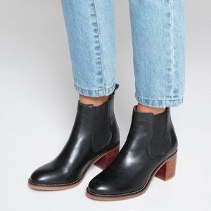Ботинки-челси кожаные на среднем каблуке La Redoute Collections