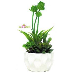 Composition de plantes vertes artificielles - Cactus avec vase design en céramique - Création haut de gamme ! NONAME