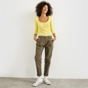 """Spodnie """"chino"""" z zaszewkami z bawełny stretchowej R essentiel"""