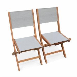 Lot de 2 chaises de jardin en bois Almeria, 2 chaises pliantes Eucalyptus FSC huilé et textilène gris taupe ALICE S GARDEN