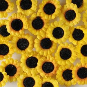 Tetes de Tournesol artificiel jaune X 24 en sachet D 4 5 cm ARTIF-DECO