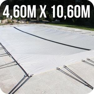 Bâche d'hivernage PVC beige 580g/m² pour piscine enterrée 4m x 10m + accessoires LINXOR