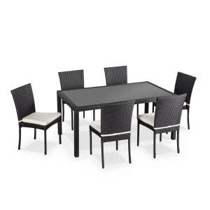 Salon de jardin en résine tressée 6 chaises, Noir, table d'extérieur design ALICE S GARDEN