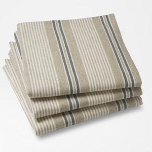 Lot de 3 serviettes de table FERM, rayées. La Redoute Interieurs