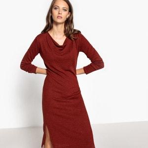 Robe tricot mi-longue, col bénitier, fendue en bas La Redoute Collections