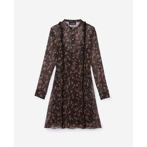 Bedrukte korte rechte jurk met lange mouwen THE KOOPLES