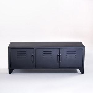 Mueble TV estilo industrial, 3 puertas, negro mate, Hiba