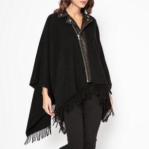 Poncho zippé en drap de laine et cuir THE KOOPLES