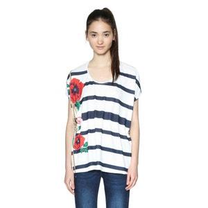 Stripe Print Crew Neck T-Shirt DESIGUAL