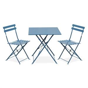Salon de jardin bistrot pliable Emilia carré bleu grisé, table 70x70cm avec deux ALICE S GARDEN
