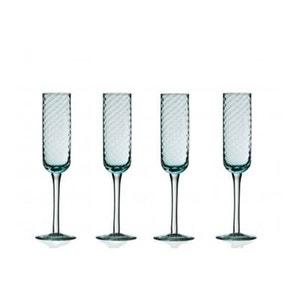 Set de 4 Flûtes à Champagne en Verre Texturé Bleu WADIGA
