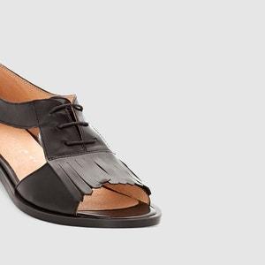 Platte sandalen in leer met ajour, JONAK JONAK