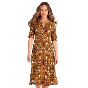 Robe à manches longues 3/4 avec imprimés floraux style vintage pour femme JOE BROWNS