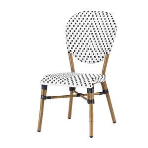 Chaise bistrot blanche CLAR alu et polyrotin - Rotin Design Garden ROTIN DESIGN
