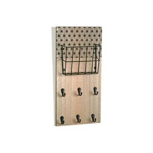 Accroche-clés mural 6 crochets et 1 panier métal imprimé géométrique noir FLAKE DECLIKDECO