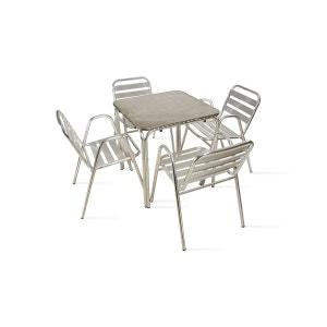 Table de jardin carrée en aluminium 4 places BOUTIQUE-JARDIN