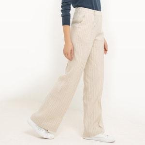 Gestreepte wijde broek, linnen R essentiel