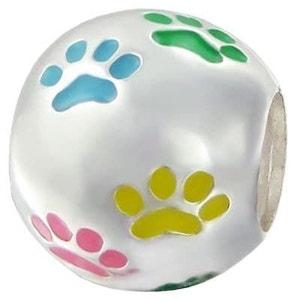 Charm Perle Boule Traces Pattes Chien Couleur Multicolore - Charms Compatibles Pandora, Trollbeads, Chamilia, Biagi - Argent 925 SO CHIC BIJOUX