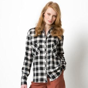 Camisa aos quadrados com mangas compridas SOFT GREY