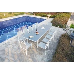 Moniga 12 : table de jardin extensible 12 personnes avec 2 fauteuils et 10 chaises en aluminium CONCEPT USINE