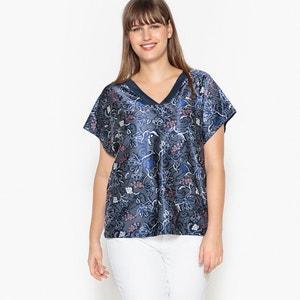 T-shirt met V-hals, bloemenprint en korte mouwen CASTALUNA