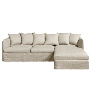 Canapé d'angle fixe Neo Chiquito, lin froissé AM.PM.