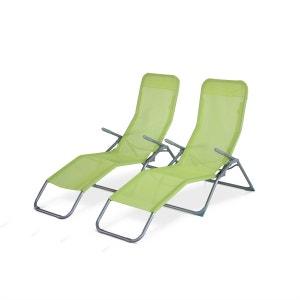 Chaise longue transat en solde la redoute for Chaises longues pliables