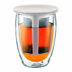 BODUM Verre TEA FOR ONE double paroi avec filtre en plastique 0,35L blanc ATLANTIC