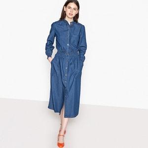 Denimowa sukienka z fałdami, z przodu w pasie guzik MADEMOISELLE R