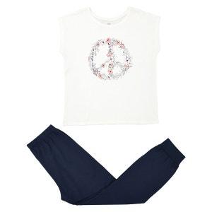Pyjama long, manches courtes, T-shirt imprimé La Redoute Collections