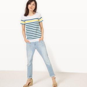 T-shirt de mangas curtas, às riscas R essentiel