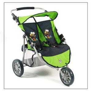 (Art. poupées) 697 16 Poussette Jogger 3 roues pour poupées jumelles - Bumblebee BAYER CHIC 2000