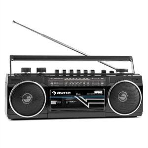 auna Duke Radio cassette rétro Boombox USB MP3 SD Bluetooth tuner FM -noir AUNA