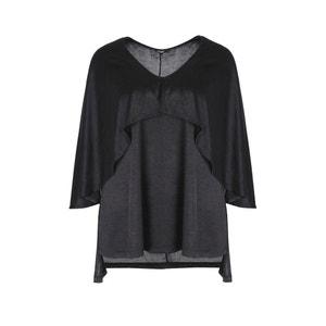 Plain V-Neck Tunic with 3/4 Length Sleeves MAT FASHION