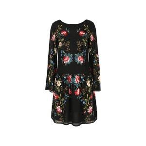 Krótka sukienka w kwiaty, długi rękaw RENE DERHY