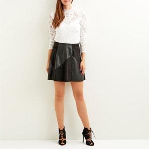 Faux Leather & Suede Skirt VILA