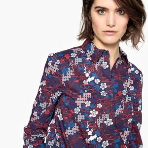 Блузка с цветочным рисунком и скрытой планкой застежки на пуговицы La Redoute Collections