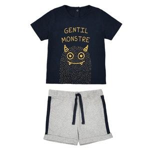 Conjunto para bebé T-shirt e calções, 1 mês - 3 anos La Redoute Collections