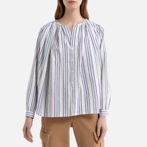 Camisa a rayas de manga larga con fruncidos CIGAR