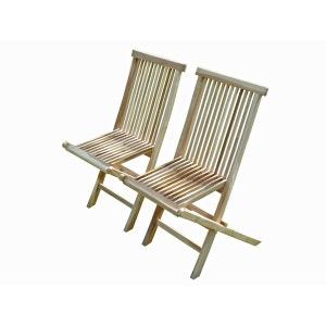 JALANG Lot de 2 chaises pliantes en teck C ET L JARDIN