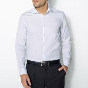 Camisa com estampado à bolas, mangas compridas, corte justo R essentiel
