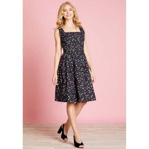 Halflange wijd uitlopende jurk met stippenprint YUMI