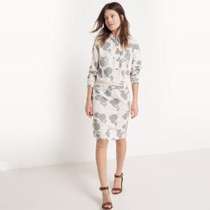 Bedrukte jurk met hemdskraag, knielengte R studio